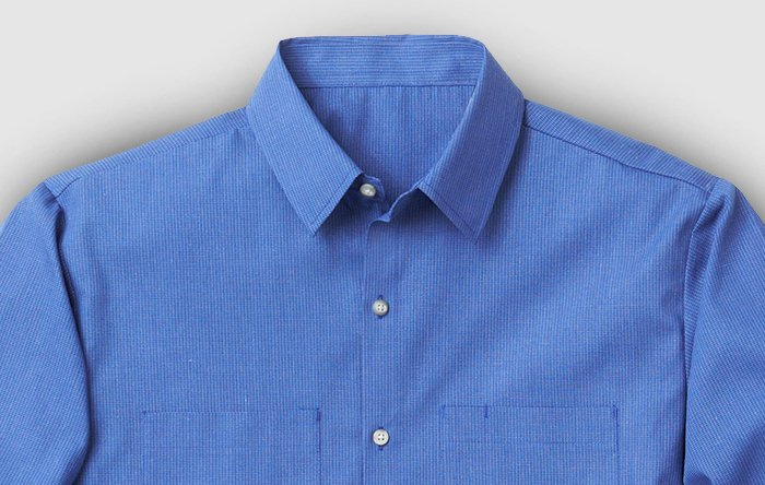 Blue long sleeve button up shirt